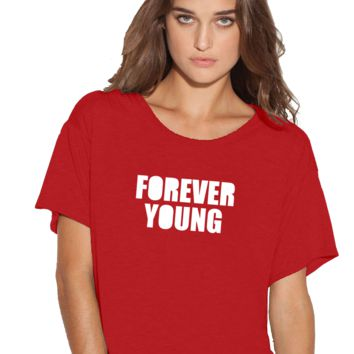 Forever Young Boxy Flowy ladies Tshirt