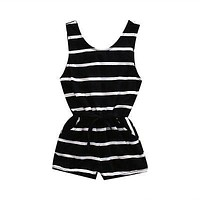 Summer Newborn Baby Girl Striped Romper Waist Drawstring Jumpsuit Sun-suit Outfits Clothes