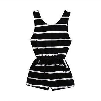 Summer Newborn 2017 Baby Girl Striped Romper Waist Drawstring Jumpsuit Sunsuit Outfits Clothes