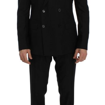 Black Wool Double Breasted 3 Piece Slim Suit