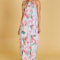 High Neck Leaf Print Maxi Chambray