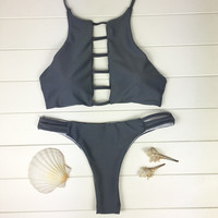 Two Piece Gray Bikini Set