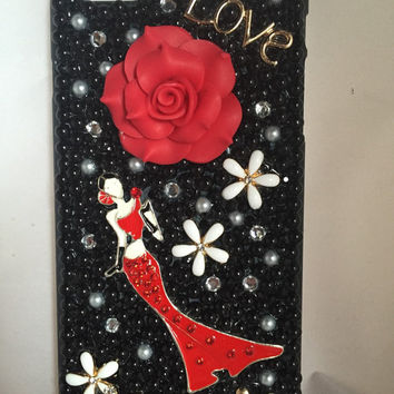 Iphone 6+ Lady in red cell phone casec bling cell phone case, iphone cell phone case, love cell phone case