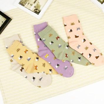 DCCKL3Z 2017 High Quality Colorful Tube Art Casual Cotton  Cartoon Cute Cat Face Thin Section Invisible Funny Socks Women Lady Girls