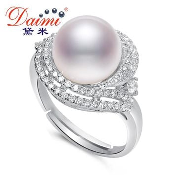 Shiny Luxury Ring High Quality Big White Pearl Ring -Sterling-Silver Ring Gift For Women