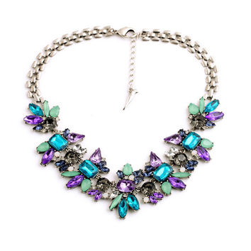 Women Fashion Amethyst Sapphire Jewelry Brand Designer Shining Crystal Flower Pendant Necklace Accessories