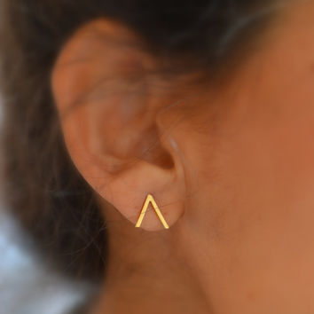 "Peak ""Mountain"" studs. geometric earrings sterling silver or vermeil. 22k gold over silver"