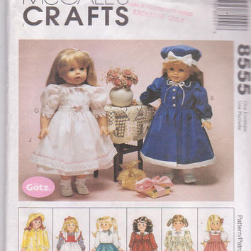 """Pattern for 8 complete outfits for Gotz/American Girl/18"""" doll raincoat, poodle skirt, dress with pinafore McCall's 8555 CUT and COMPLETE"""