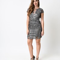 1920s Style Charcoal Beaded Tulle Deco Mini Dress