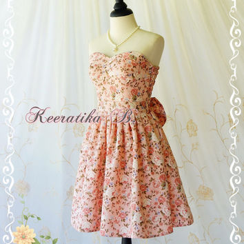 A Lovely Queen Sweet Romance Roses Pastel Dress Wedding Bridesmaid Dress Prom Dress Party Dress Cocktail Dress Pink Floral Dress Custom Made