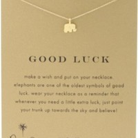 "Dogeared Reminder ""Good Luck"" Gold-Plated Sterling Silver Elephant Pendant Necklace, 16"""