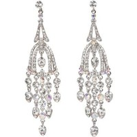 Heirloom Finds Elegant Art Deco Clear and Aurora Borealis Crystal Earrings Dazzling Long Dangles