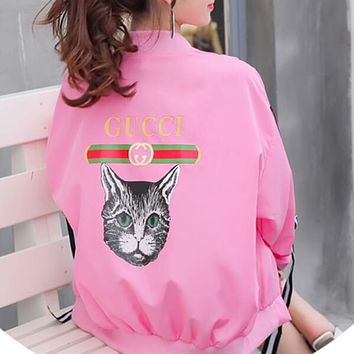 GUCCI Popular Women Loose Print Outdoor Sun Protection Zipper Cardigan Sweatshirt Jacket Coat Windbreaker Rose Red I13163-1