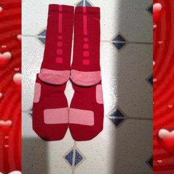 Gmoney Customs — Red With Pink Nike Elite Socks Valentines Day Editions