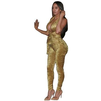 Sexy Deep V Neck Club Velvet Shinny Criss Backless Romper Womens Jumpsuit Sleeveless Yellow Full Length Bodycon Bodysuit
