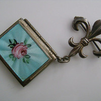Sterling Silver Victorian Style Jewelry Fleur De Lis Double Picture Photo Locket Mint Green Enamel Pink Rose Flower Leaf Pattern Brooch Pin