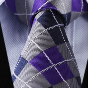 Handmade Purple Silk Tie Checkered Tie