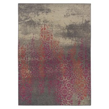 Climbing Floral Area Rug - Gray/Pink