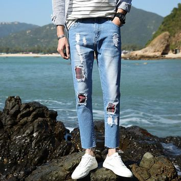 Summer Men Jeans Skinny Stretch Patchwork Ripped Bleached Casual Men Denim Jeans Distressed Hole Ankle-Length Pencil Pants