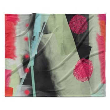 "Rosa Picnic ""Abs-3"" Pink Teal Abstract Contemporary Painting Watercolor Fleece Throw Blanket"