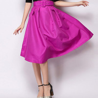 Classy Rose Skater Skirt With Belt