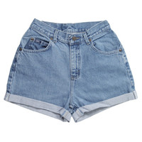 Rokit Recycled Lee Blue Denim Shorts W26 | Shorts | Rokit Vintage Clothing