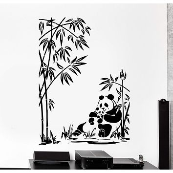 Wall Vinyl Decal Panda Family Baby Bamboo Jungle Home Interior Decor Unique Gift z4079