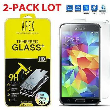 2-Pack Premium Tempered Glass Screen Protector For Samsung Galaxy S5 G900 635909324959