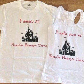 Free/Fast Shipping Disney's Sleeping Beauty Castle Engagement  Couples T Shirts: Blue and Pink