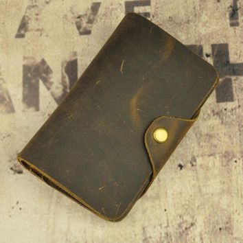 handmade vintage card hold purse genuine leather long walletcool gift 38 2
