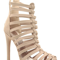 Taupe Faux Nubuck Strapped and Closed Heels