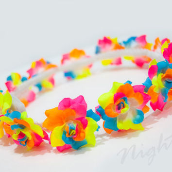 Kandi Rainbow Rose NightFlo (Blue LED) for EDC & Coachella, Free Mini  Headband w Purchase