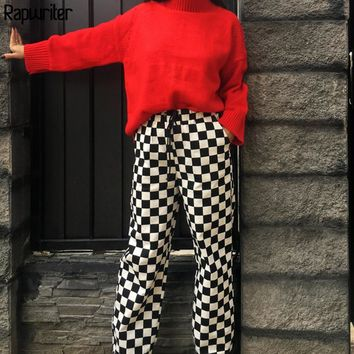 Rapwriter High Street Plaid High Waist Pants Women 2018 Checkered Straight Loose Fashion Lace-Up Trousers Pantalon Femme Pants