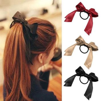 DCCKU62 Women Satin Ribbon Bow Elastic Hair Band/Hair Tie Ring Rope Scrunchie Ponytail Holder Headbands Hair Accessories Hairbands