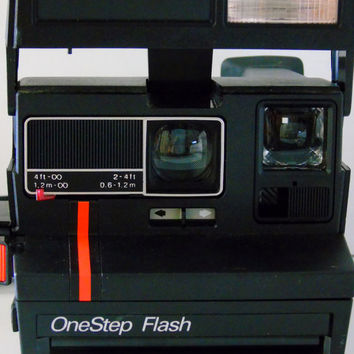 UnTested Vintage Polaroid 600 One Step Flash Red Stripe Instant Film Camera With Neck Strap