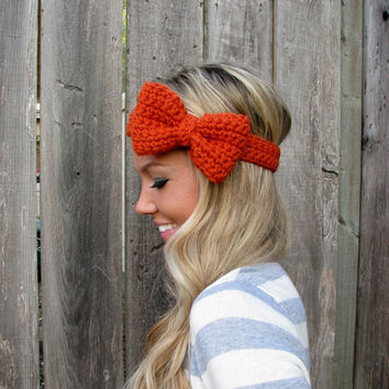 Pumpkin Orange Crochet Bow Headband w/ Natural Vegan Coconut Shell Buttons Adjustable Hair Band Girl Woman Teen Head Wrap Knit Accessories
