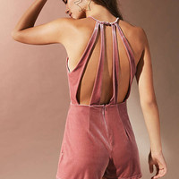 UO Velvet Surplice Strappy-Back Romper | Urban Outfitters