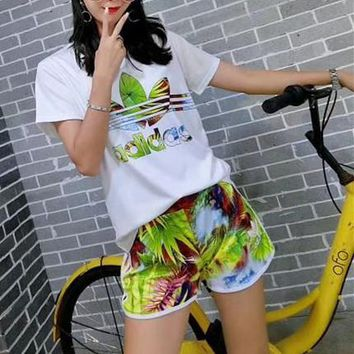 """Adidas"" Women Casual Fashion Multicolor Letter Logo Print Short Sleeve Shorts Set Two-Piece Sportswear"