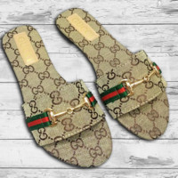 GUCCI Fashion New Stripe More Letter Slippers Flip Flop Shoes Women