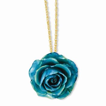 Lacquer Dipped Blue Rose w/ Gold-tone Chain