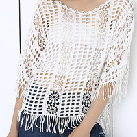 White Plaid Lace Crochet Sheer Fringe Blouse