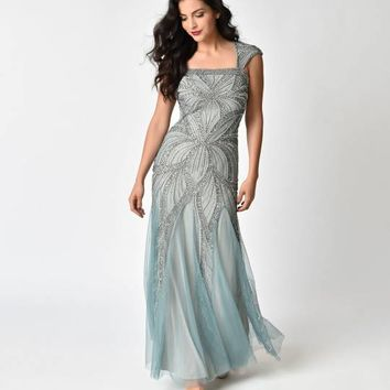 Frock and Frill Mint Green & Silver Embellished Bradi Maxi Dress