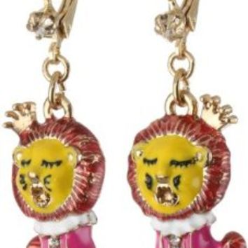 """Betsey Johnson """"A Day at the Zoo"""" Lion Drop Earrings:Amazon:Jewelry"""