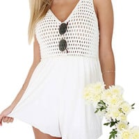 White Romper With Crochet Details