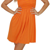 The Scene (Orange/Pink)-Great Glam is the web's best online shop for trendy club styles, fashionable party dresses and dress wear, super hot clubbing clothing, stylish going out shirts, partying clothes, super cute and sexy club fashions, halter and tube