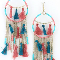 Wild & Free Tassel Earrings in Blue