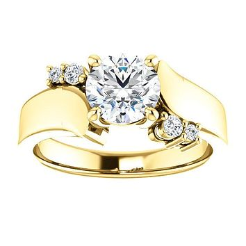 Cubic Zirconia Engagement Ring-*Clearance* The Inez 1.0 Carat Round Cut 5-stone Artisan Bypass in 10K Yellow Gold