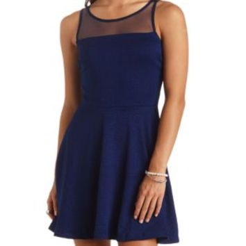 Textured Open Back Mesh Yoke Skater Dress by Charlotte Russe - Navy