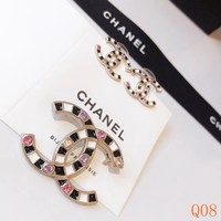 HCXX 19Sep 040 Black and white drip oil colored diamond double C stud earring brooch
