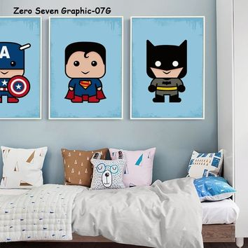 Cute Cartoon Film DC Superhero Child Canvas Art Painting Print Poster Picture Wall Baby Room Children's Bedroom Home Decor Mural